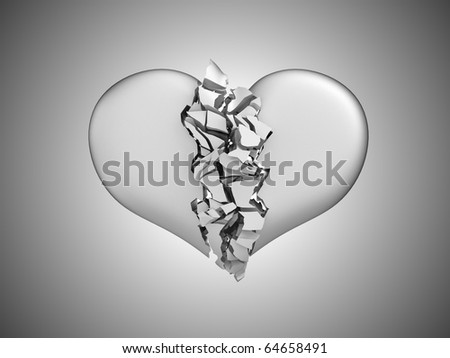 Divorce and death. Broken Heart over grey background - stock photo