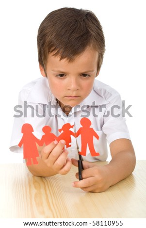Divorce concept with sad kid cutting paper people - isolated - stock photo