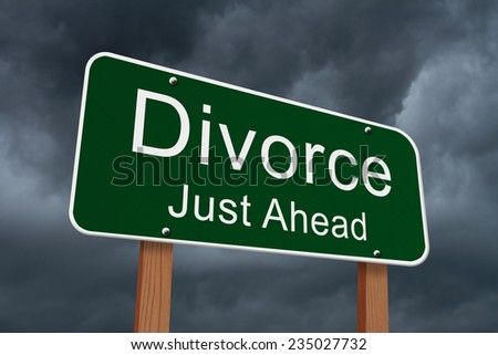 Divorce Just Ahead Sign, Green highway sign with words Divorce Just Ahead with stormy sky background - stock photo
