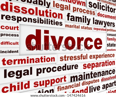 Divorce legal words poster design. Family separation creative concept