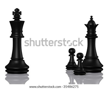 Divorce situation with the chess figures - stock photo