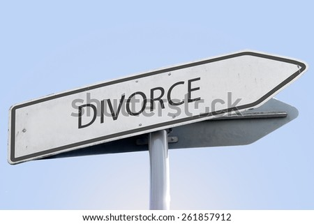 DIVORCE word on road sign - stock photo