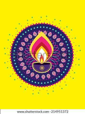 Diwali Candle Light, Celebrate Indian New Year Element - stock photo