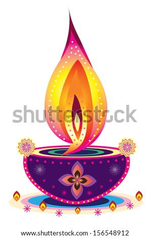 Diwali Candle Light - Indian new year celebrating oil lamp  - stock photo