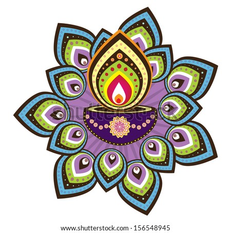 Diwali Candle Light Indian New Year Stock Illustration 156548945
