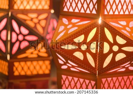 Diwali decorative lamps for sale on Diwali festival Mumbai Maharashtra India South East Asia - stock photo