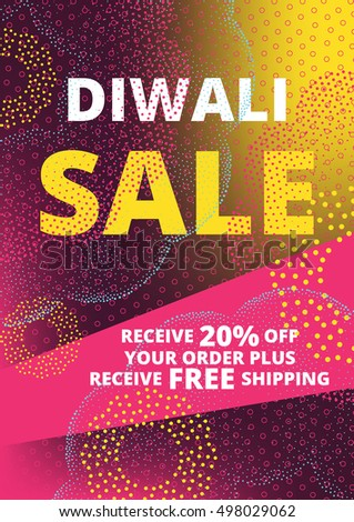 Diwali Festival Offer Poster Design Template Sale With Bright Pink, Yellow Lights, Fireworks