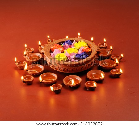 Diwali festival with beautiful lamps. - stock photo