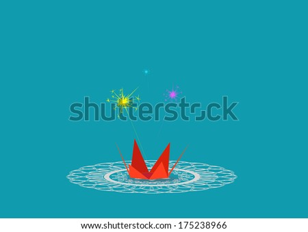 Diwali firework display isolated on colored background