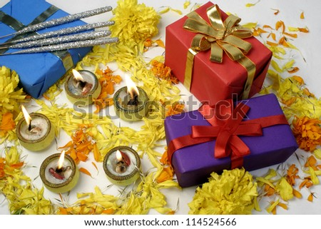 Diwali Gifts and lamps at traditional Indian festival, - stock photo