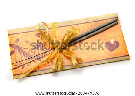 Diwali Greeting Card and Sparklers, firecrackers isolated on white background during Diwali festival India Asia South East Asia - stock photo