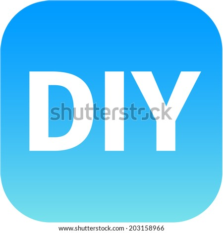 DIY blue icon - do it yourself, for web, internet or phone app - stock photo