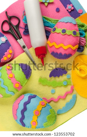 DIY colorful felt Easter eggs - stock photo