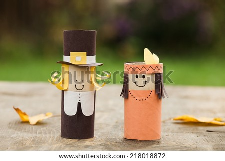DIY decorations for Thanksgiving day. - stock photo