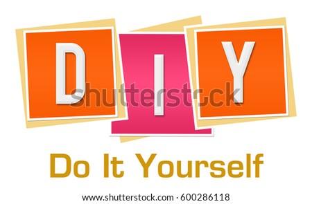diy do yourself pink orange blocks stock illustration 600286118 shutterstock. Black Bedroom Furniture Sets. Home Design Ideas