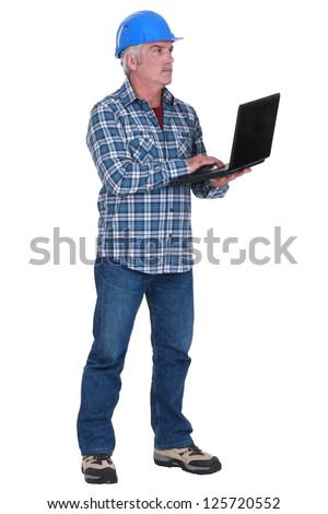 DIY fan with laptop - stock photo