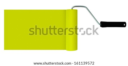 DIY, home improvement header, background - yellow paint roller and paint stroke - stock photo
