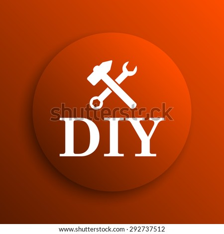 DIY icon. Internet button on orange background  - stock photo