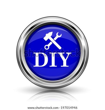 DIY icon. Shiny glossy internet button on white background.  - stock photo