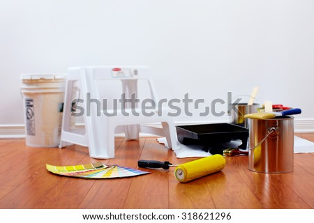 Diy tools and painting roller. House renovation. - stock photo