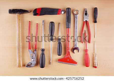 diy work tool set or kit as flat lay - stock photo