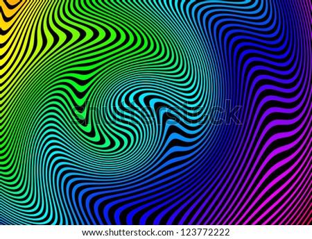 Dizzying rainbow swirls abstract background - stock photo