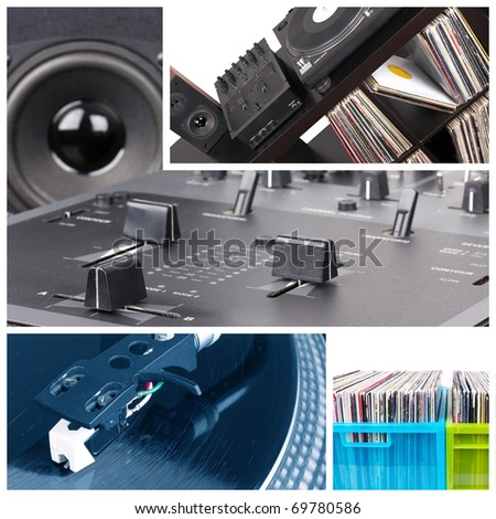 Dj collage. Equipment parts - stock photo
