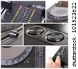 Dj Collage with parts of cd player and mixer - stock photo