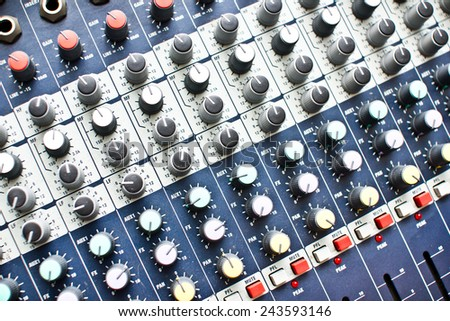 Dj console with many channels. - stock photo