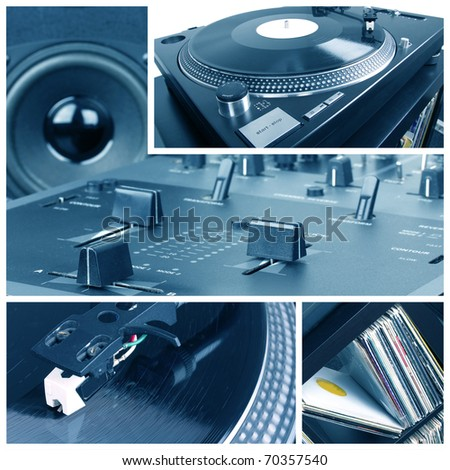 Dj equipment collage. Turntable, records and mixer parts - stock photo