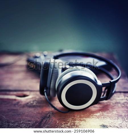 Dj equipment with headphones - stock photo