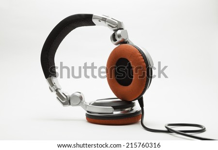 dj headphones isolated on white - stock photo
