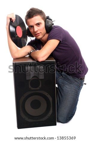 dj in headphones holding a plate, isolated in white background - stock photo