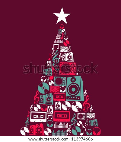 Dj music retro icon set in Christmas pine tree shape illustration background. - stock photo