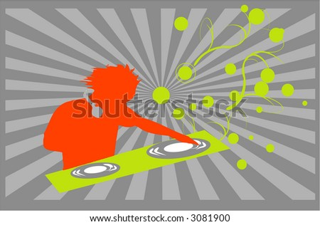 DJ playing music on gray background raster illustration - stock photo