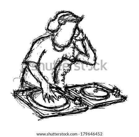 DJ playing turntable - stock photo