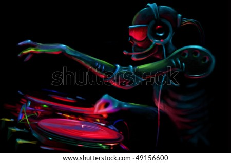 DJ Robot By The Turntable - stock photo