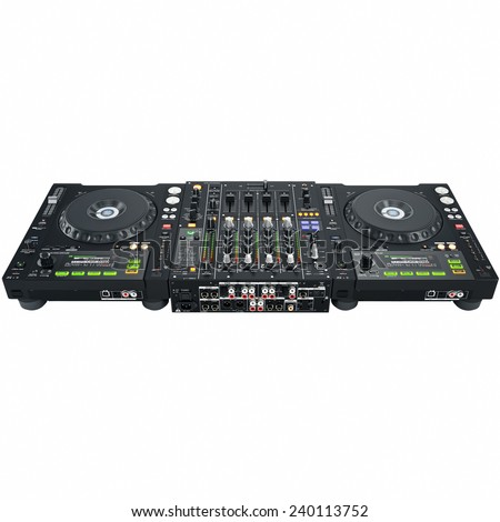 Dj set back cover with the slots and jacks  - stock photo