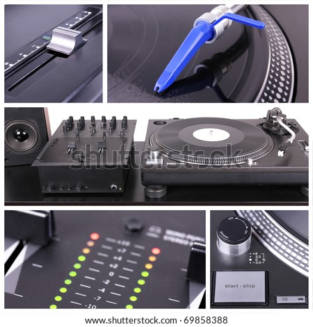 Dj table collage, closedup parts - stock photo