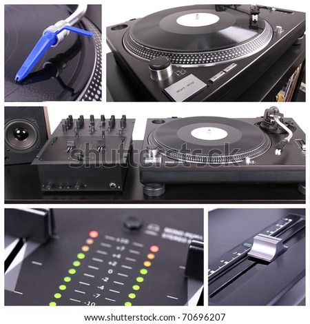 Dj table collage, closeup parts - stock photo