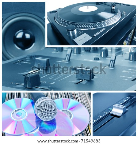 Dj tools collage. Turntable, mixer and vinyl records - stock photo