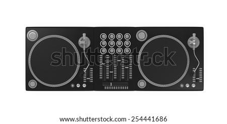 DJ Turntable Isolated - stock photo