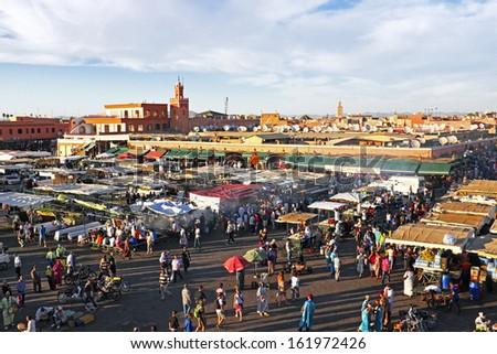 Djemaa el Fna market in Marrakesh, Morocco - stock photo