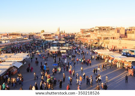 Djemaa el Fna - square and market place in Marrakesh's medina quarter, Marrakesh, Morocco.25-02-2015 - stock photo