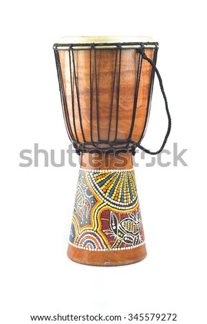 Djembe isolated on white background - stock photo
