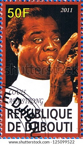 DJIBOUTI - CIRCA 2011: A postage stamp printed in the Republic of Djibouti showing famous musician Louis Armstrong, circa 2011 - stock photo