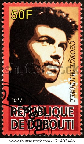 DJIBOUTI - CIRCA 2011: A stamp printed by DJIBOUTI shows image portrait of famous English musician, singer, songwriter, multi-instrumentalist and record producer George Michael, circa 2011 - stock photo