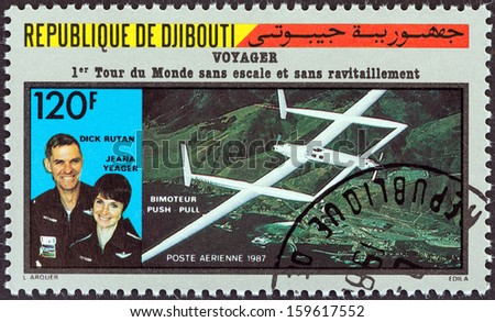 DJIBOUTI - CIRCA 1987: A stamp printed in Djibouti issued for the first flight around the world without stopping or refueling by Rutan Model 76 Voyager shows Dick Rutan and Jeana Yeager, circa 1987.