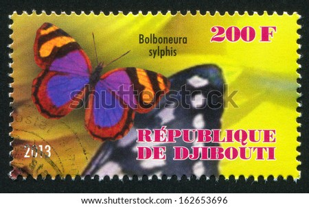 DJIBOUTI - CIRCA 2013: stamp printed by Djibouti, shows butterfly, circa 2013