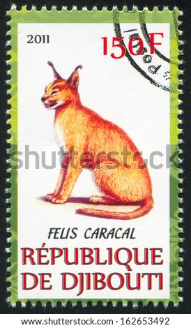 DJIBOUTI - CIRCA 2011: stamp printed by Djibouti, shows Caracal, circa 2011 - stock photo